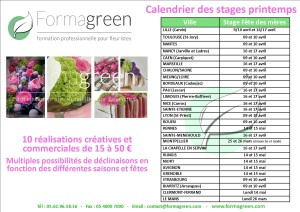 calendrier stages fleuristes printemps formagreen 2018