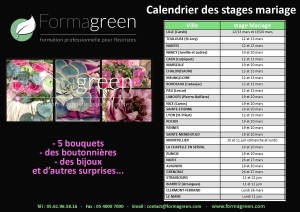 stages fleuristes mariage formagreen 2018, formation fleuriste de mariage
